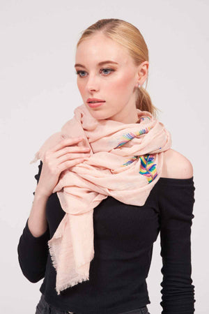 Mantra Pakistan SOLID COLORED EMBROIDERED SCARF | ACCESSORIES