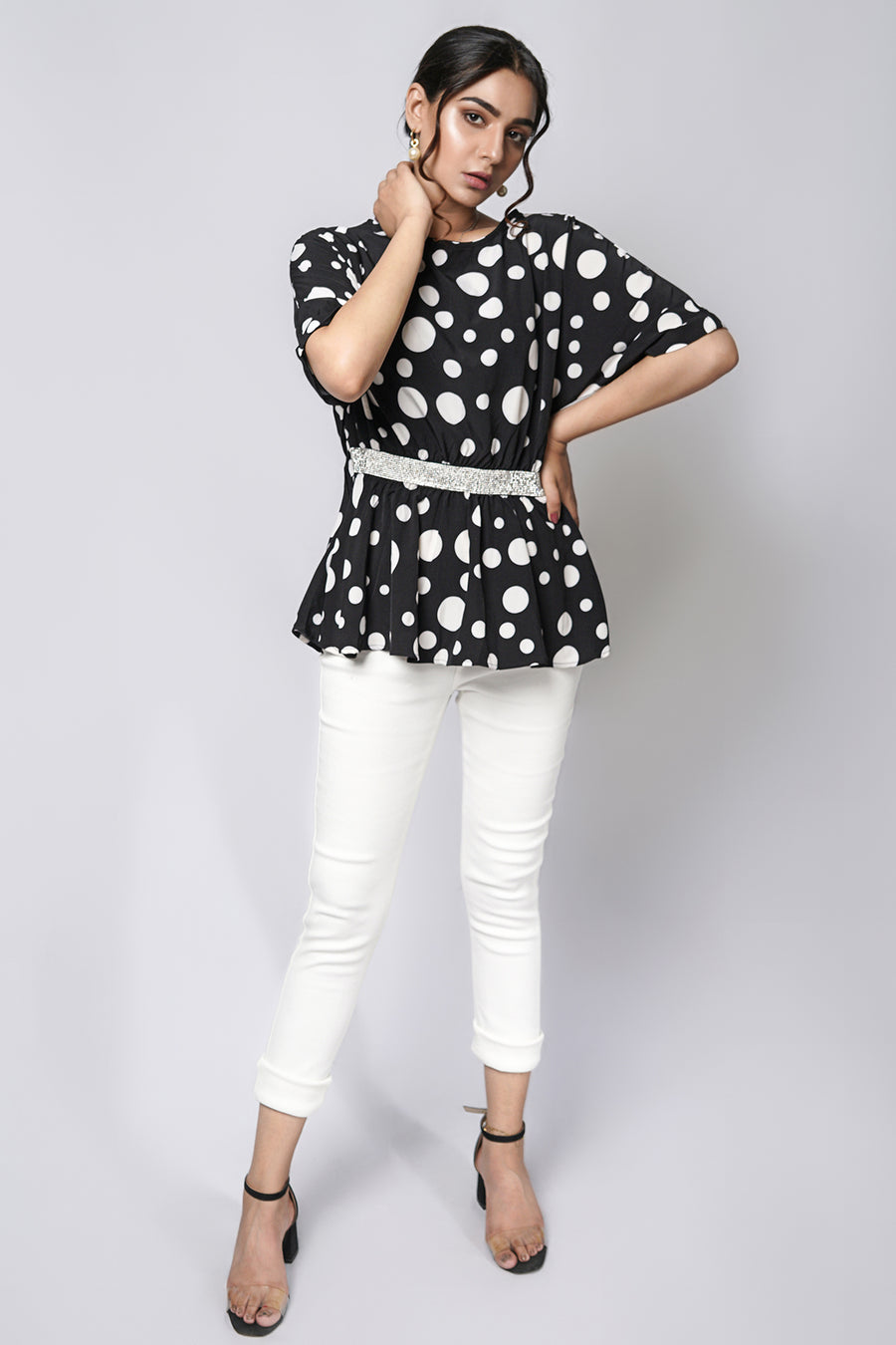 Polka dot tee with diamonte belt