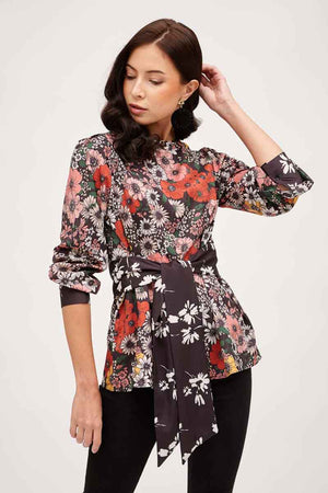 Mantra Pakistan FLORAL PRINTED TOP WITH SASH TIE | TOPS