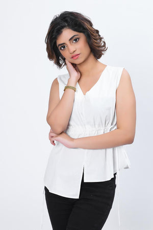 Mantra Pakistan SLEEVELESS ASYMMETRICAL TOP | TOPS