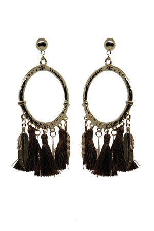 DREAM-CATCHER BLACK TASSEL EARRINGS - Mantra Pakistan