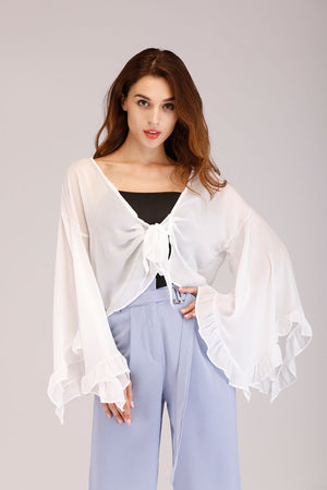 Mantra Pakistan WRAP TOP WITH FLARED SLEEVES | TOPS