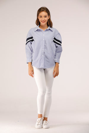 Mantra Pakistan Stripe Shirt with Black and White on Sleeve | Western Wear