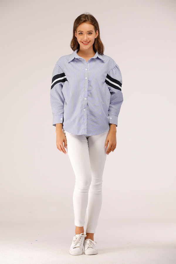 Stripe Shirt with Black and White on Sleeve