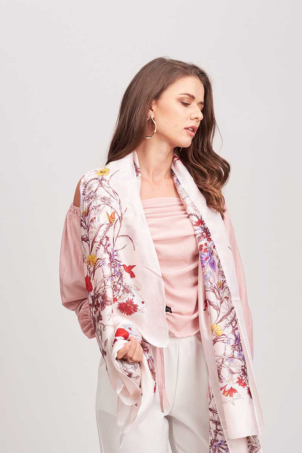 Mantra Pakistan FLORAL PRINTED PINK SCARF | ACCESSORIES