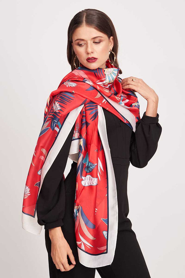 JUNGLE PRINTED SCARF - Mantra Pakistan
