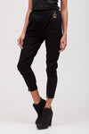 BLACK PANTS WITH BROOCH