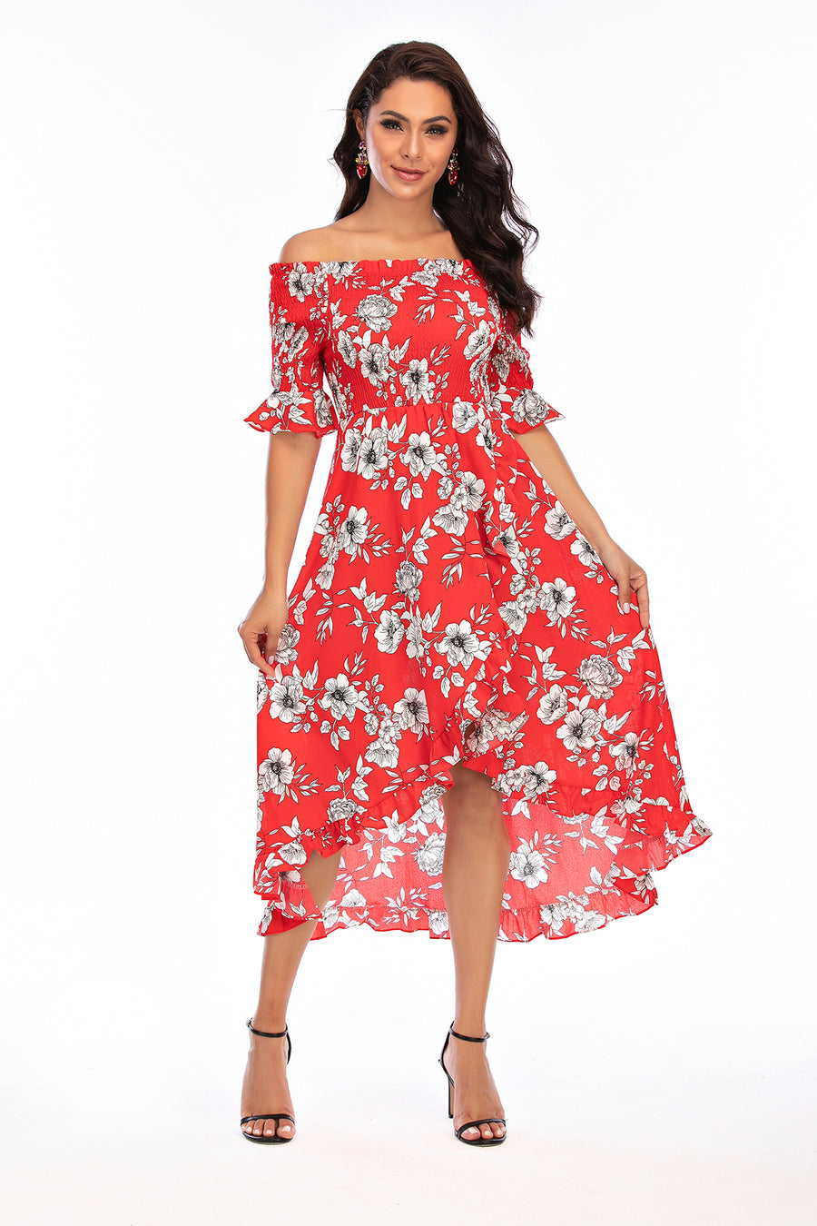 Mantra Pakistan Off shoulder Red Floral Dress | Western Wear