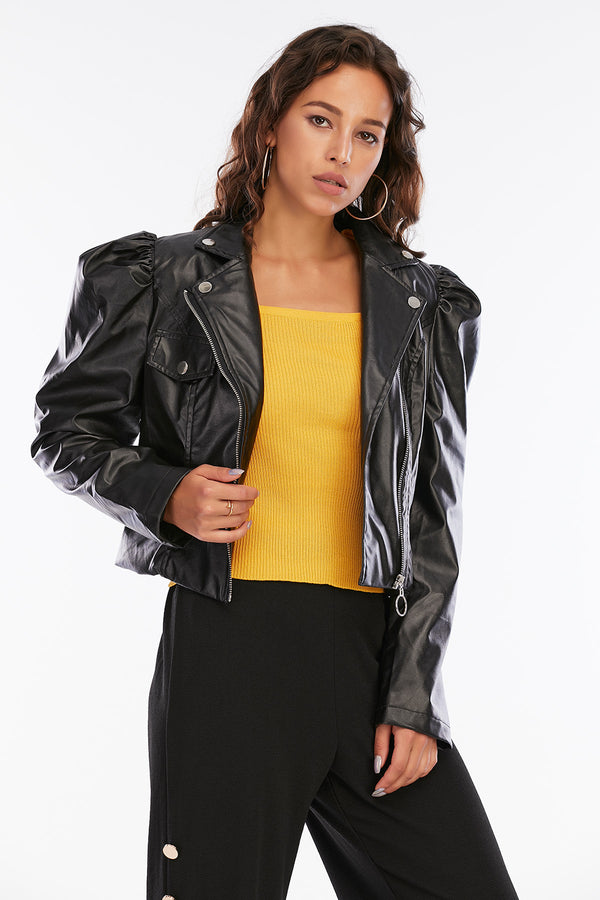 Mantra Pakistan Leather Jacket With Puffy Sleeves | Western Wear