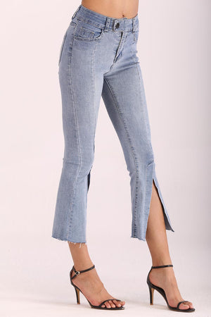 Mantra Pakistan JEANS WITH FLARED SLIT LEG | BOTTOMS