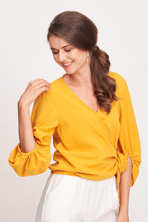 Mantra Pakistan YELLOW V-NECK PUFFY SLEEVES TOP | TOPS