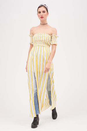 Mantra Pakistan STRIPED OFF SHOULDER LONG TOP | TOPS