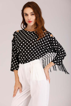 Mantra Pakistan POLKA DOT COLD SHOULDER TOP WITH FRINGES | TOPS