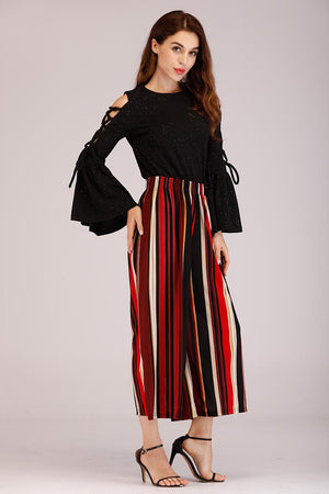 Mantra Pakistan STRIPED PALAZZO | BOTTOMS