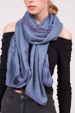 Mantra Pakistan SOLID COTTON POMPOM SCARF | ACCESSORIES