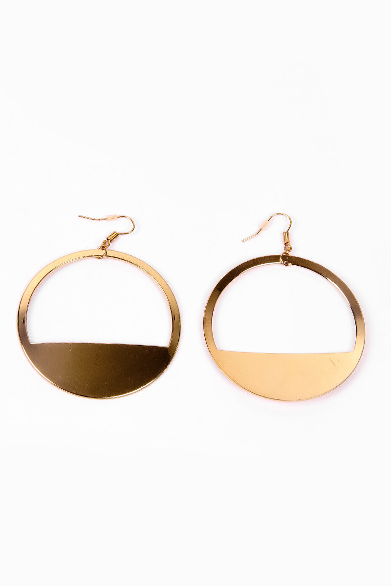 GOLDEN HALF CIRCLE EARRINGS