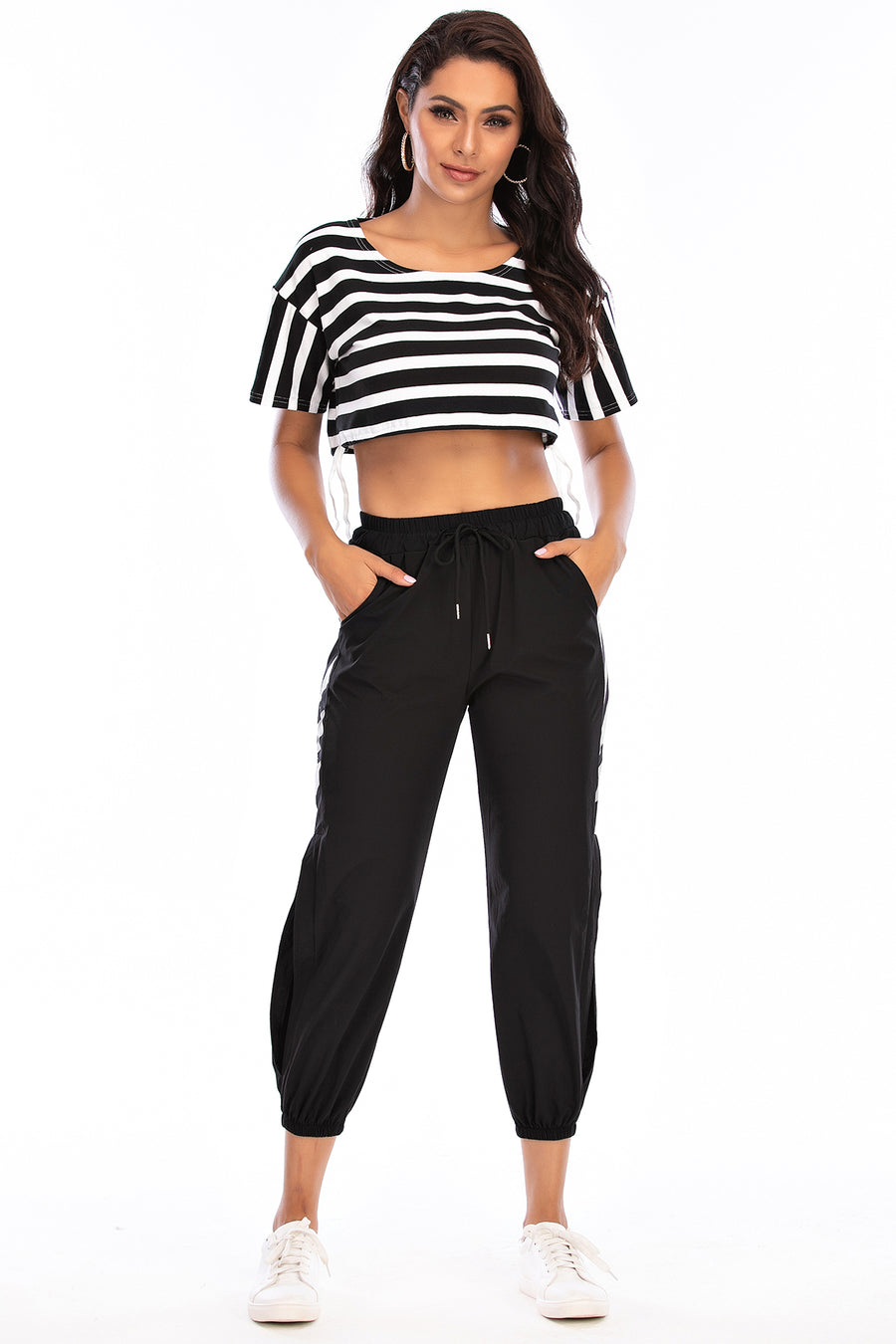 Mantra Pakistan Striped Crop Top | Western Wear