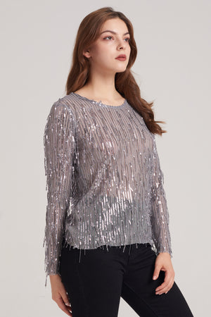 Mantra Pakistan Mesh Sequin String Full Sleeve Top | TOPS