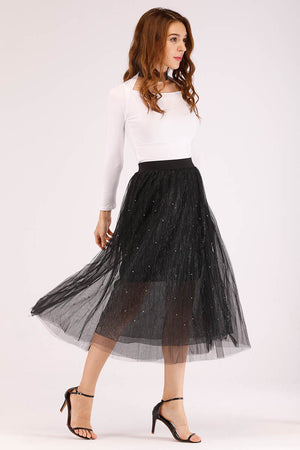 Mantra Pakistan BEADED MESH MIDI SKIRT | BOTTOMS