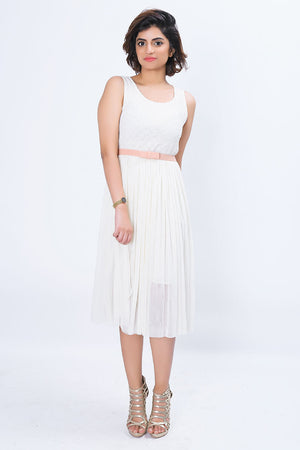 Mantra Pakistan MIDI DRESS WITH BELT | DRESS