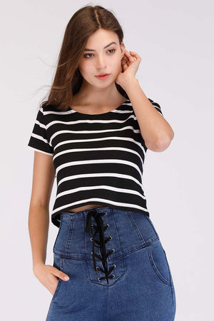 Mantra Pakistan STRIPED CROP TEE | TOPS