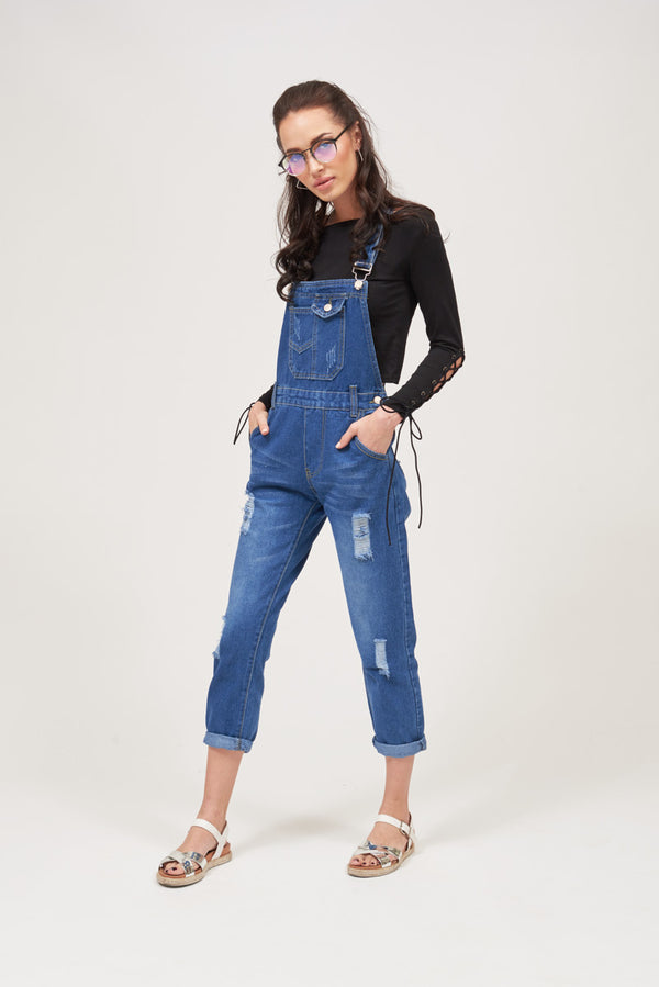 Mantra Pakistan RIPPED DENIM OVERALL / DUNGAREE | DRESS