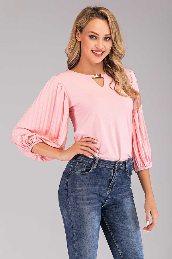 SOLID COLORED PUFFY SLEEVES KEYHOLE TOP