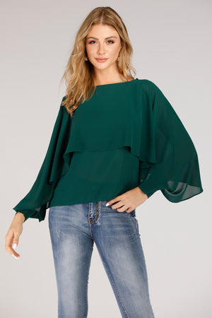 Mantra Pakistan Blouse With Overlay And Open Sleeves Cuff | TOPS