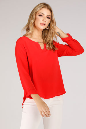 Mantra Pakistan V- Neck Blouse With Metal | TOPS