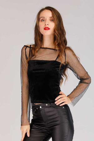 Mantra Pakistan DIAMOND EMBELLISHED MESH TOP | TOPS