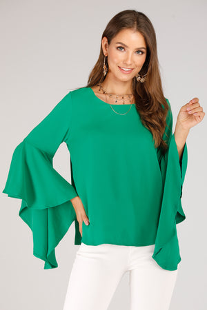 SOLID COLORED FLARED SLEEVE TOP