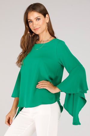 Mantra Pakistan SOLID COLORED FLARED SLEEVE TOP | TOPS