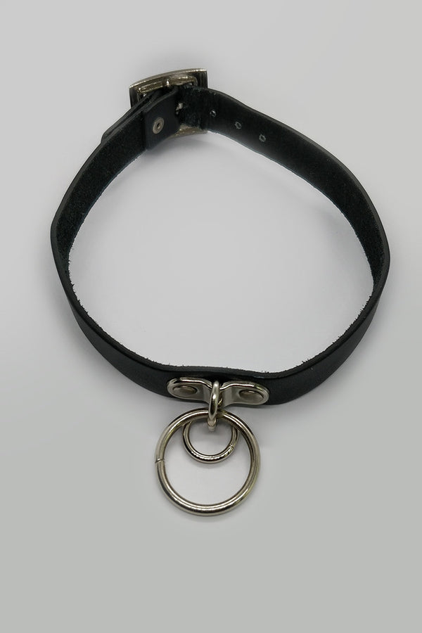 Leather Strap Choker with Ring