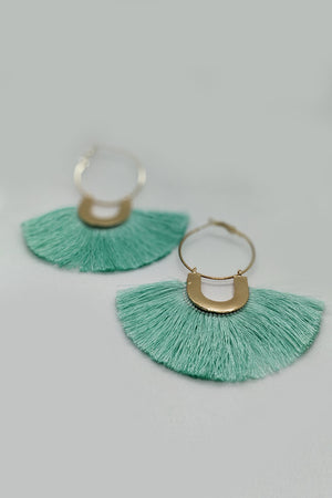 Green Fringe Earrings - Mantra Pakistan