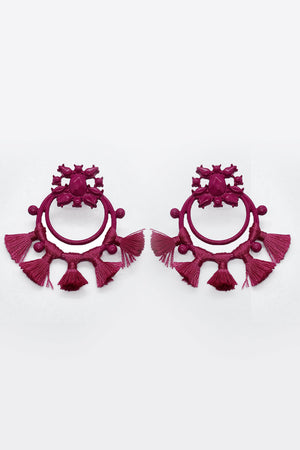 Mantra Pakistan Acrylic Pink Circle Earrings with Tassels | ACCESSORIES