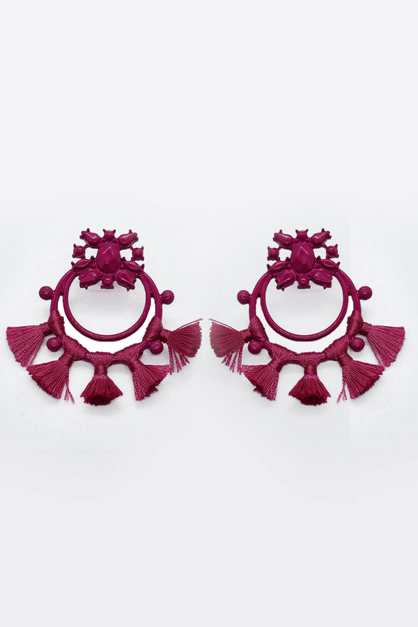 Acrylic Pink Circle Earrings with Tassels - Mantra Pakistan