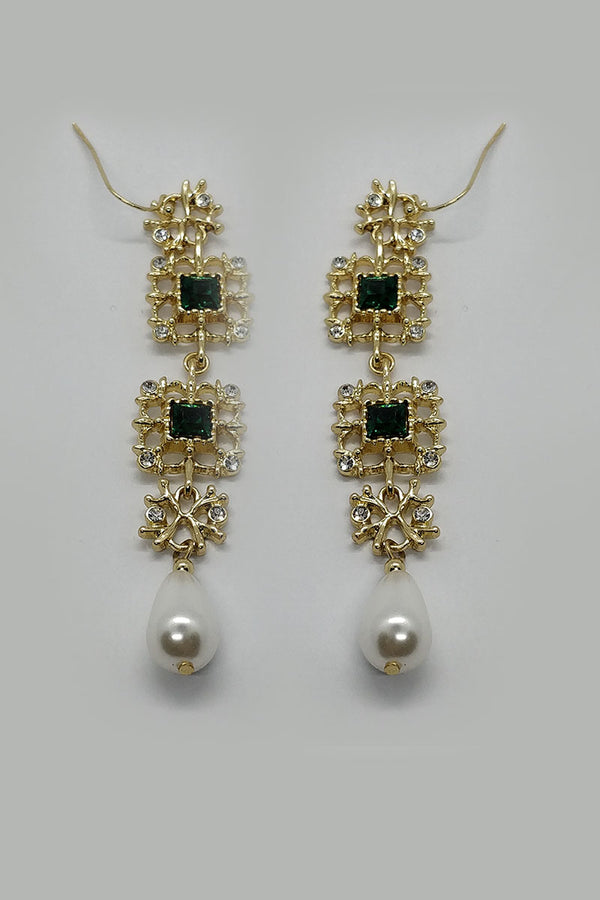 Mantra Pakistan Long Dangle Emerald and Gold Earrings | ACCESSORIES