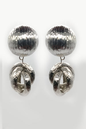 Mantra Pakistan Textured Silver Circle Studs Earrings | ACCESSORIES
