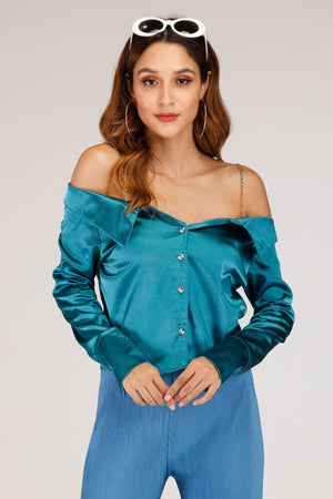 Mantra Pakistan SOLID GREEN COLD SHOULDER TOP | TOPS