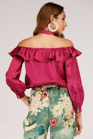 COLD SHOULDER TOP WITH OVERLAY WINE - Mantra Pakistan