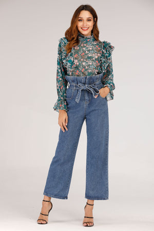 Mantra Pakistan HIGH WAIST SCRUNCHED WAIST JEANS | BOTTOMS