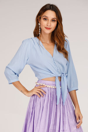 BLUE TIE UP TOP WITH FRONT BUTTONS - Mantra Pakistan