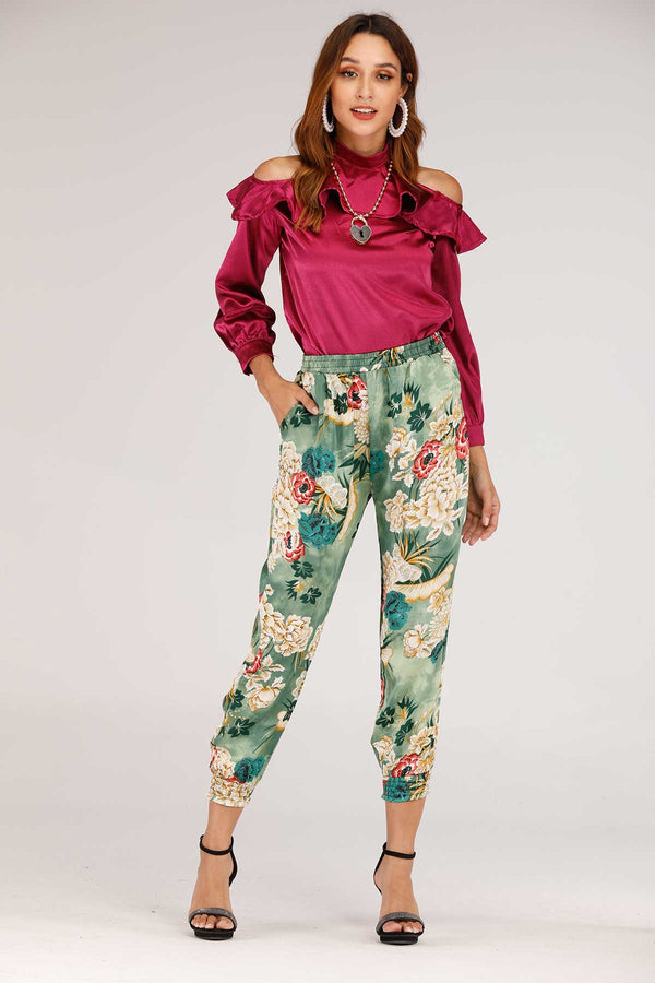 Mantra Pakistan GREEN FLORAL PRINTED PANTS | BOTTOMS