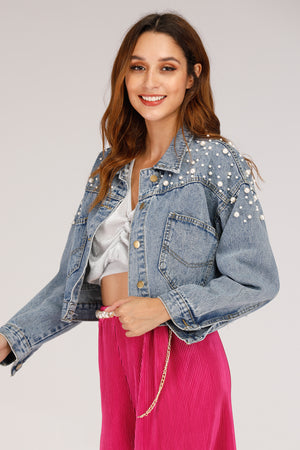 Mantra Pakistan DENIM JACKET WITH PEARLS | OUTERWEAR