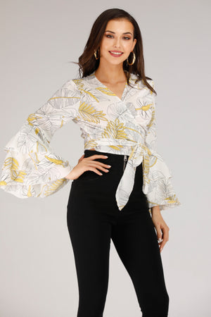 Mantra Pakistan FLARE SLEEVE TIE UP BLOUSE | TOPS