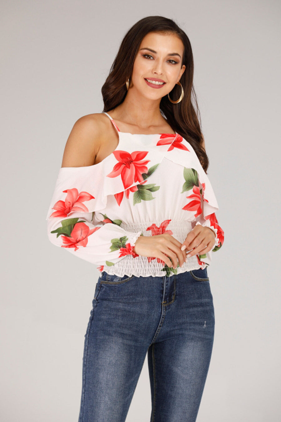 COLD SHOULDER FLORAL PRINTED TOP - Mantra Pakistan