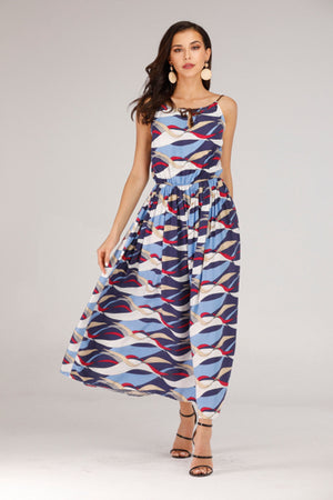 LIGHT BLUE AND WHITE PATTERN LONG DRESS