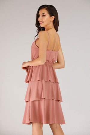 Mantra Pakistan PINK LAYERED RUFFLE DRESS | DRESS