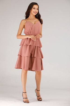 PINK LAYERED RUFFLE DRESS