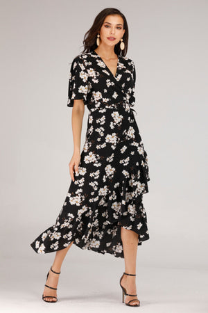 BLACK WRAP DRESS WITH WHITE FLORAL PRINT - Mantra Pakistan